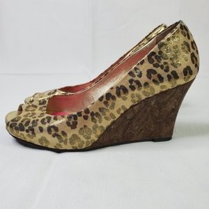 Lilly Pulitzer Leopard Print Cork Wedge Shoes